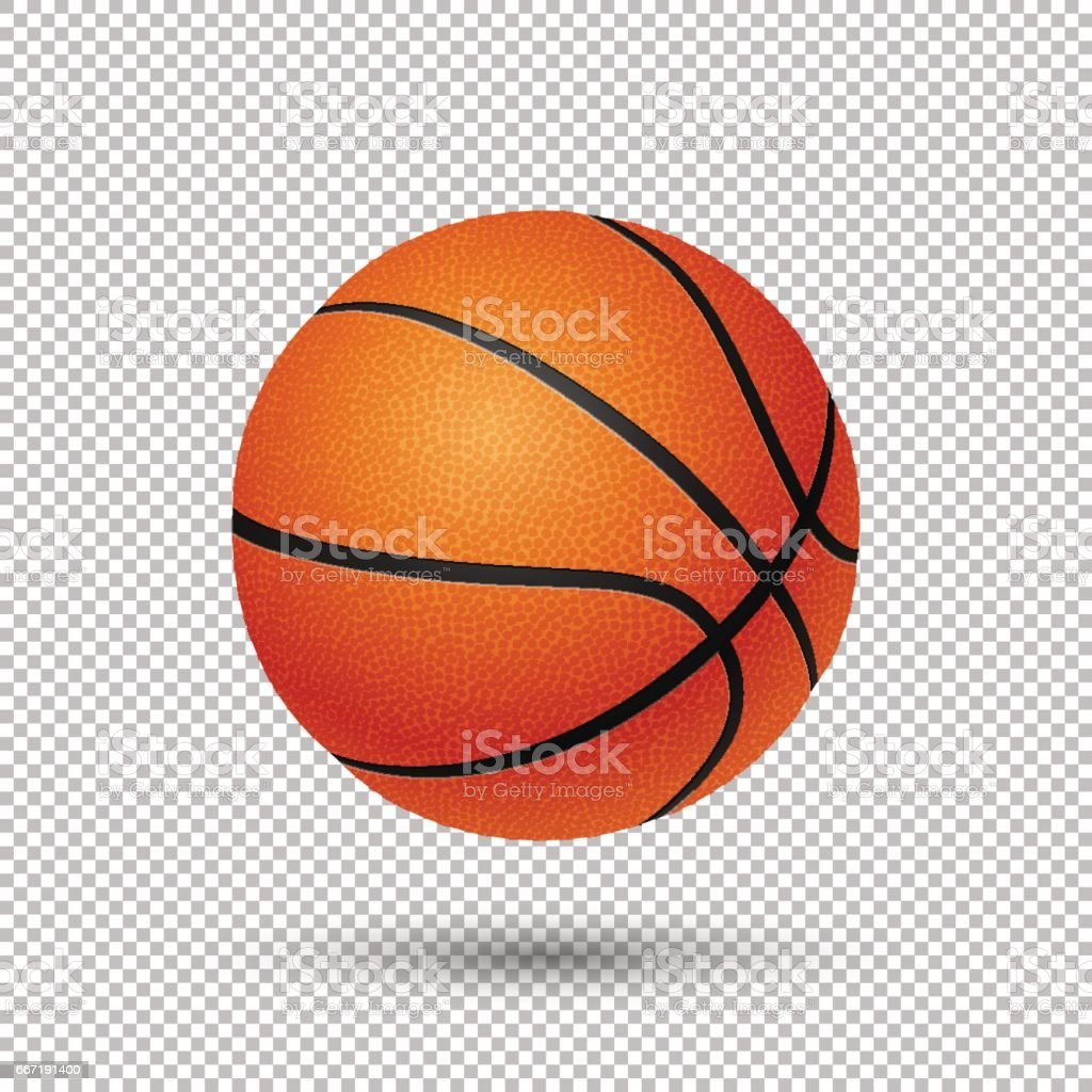 Vector realistic flying basketball closeup isolated on transparent background. Design template in EPS10