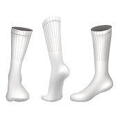 Vector Realistic Football socks White. Template Editable Illustration