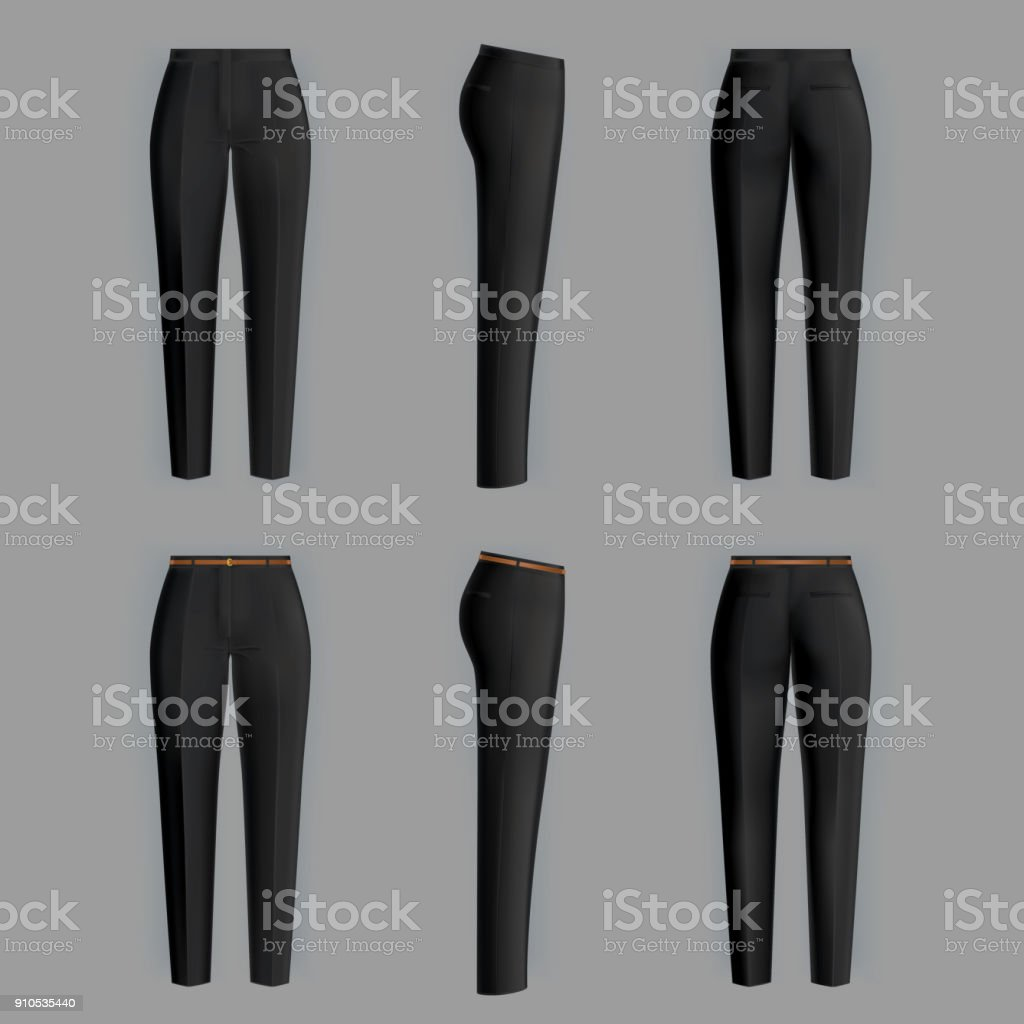 Vector realistic formal trousers for women royalty-free vector realistic formal trousers for women stock illustration - download image now