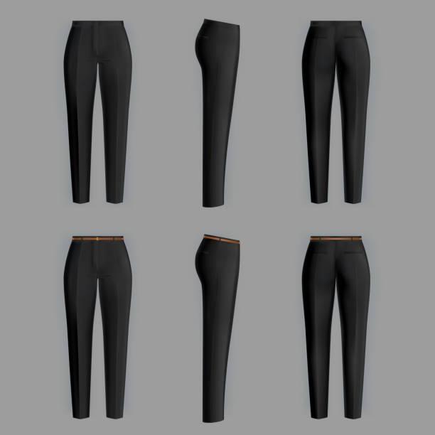 ilustrações, clipart, desenhos animados e ícones de calças formais realistas de vetor para as mulheres - calça comprida