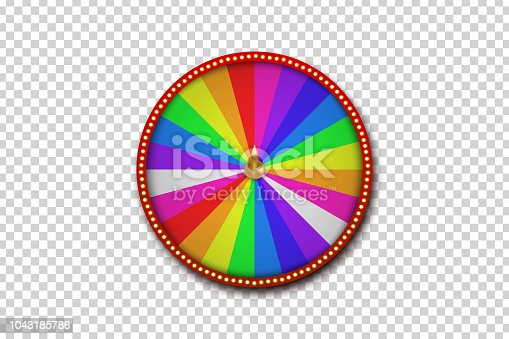 Vector realistic fortune roulette wheel for decoration and covering on the transparent background. Concept of casino, slots, lottery and winning.
