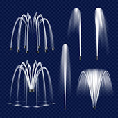 Realistic water fountain set. Vector illustration of fountains with water jets isolated on transparent background.