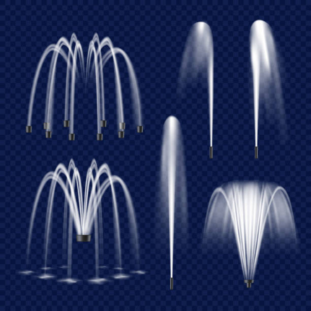 vector realistic fountain with water jet icon set - fontanna stock illustrations