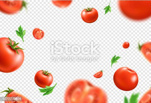 istock Vector realistic fresh red ripe tomato pattern 1272279825