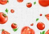 istock Vector realistic fresh red ripe tomato pattern 1272279825