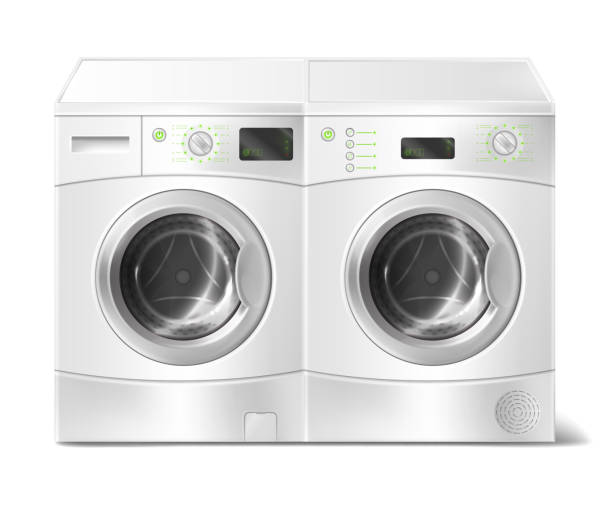 vector realistic front-load washer and dryer - washing machine stock illustrations, clip art, cartoons, & icons