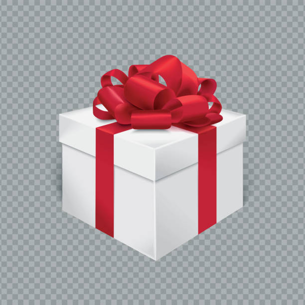 vector realistic gift box with red ribbon and bow. transparent background. - gift stock illustrations