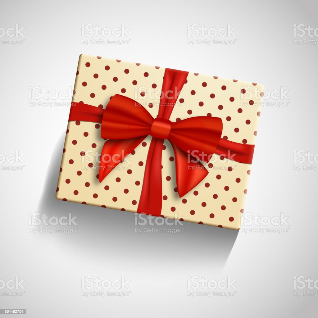 Vector Realistic Gift Box With Red Ribbon Isolated Greeting Card