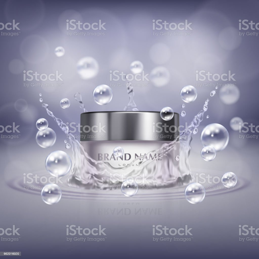 Vector realistic glass jar with cosmetic product vector art illustration