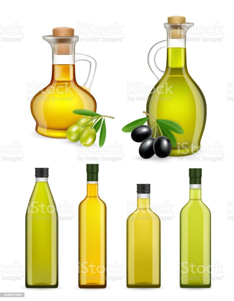 Vector realistic glass olive oil bottles and jars set - ilustração de arte vetorial