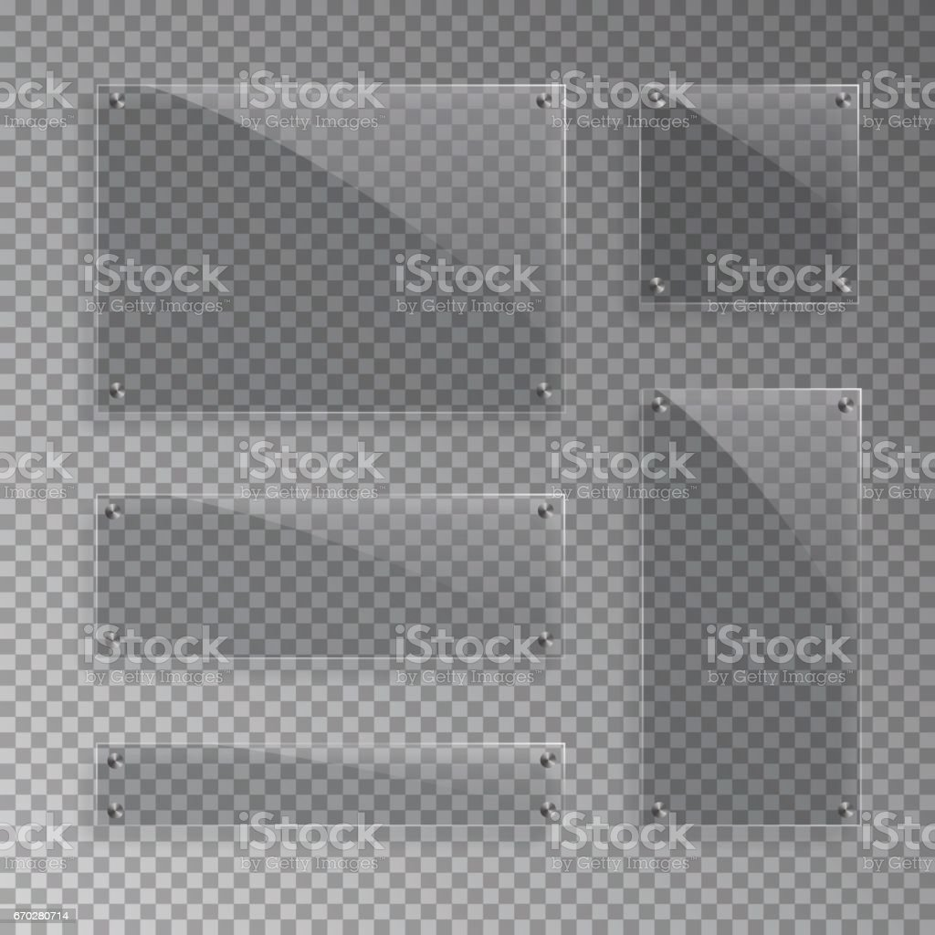 Vector realistic glass plates isolated on transparent background. vector art illustration