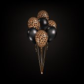 Vector 3d realistic black and leopard print skin balloons isolated on black background. Bunch of colorful party balloons for event design, birthday, anniversary, celebration, carnival.