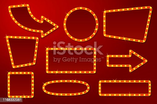 Vector realistic glowing signs with lamps, for circus, movie etc. signs.