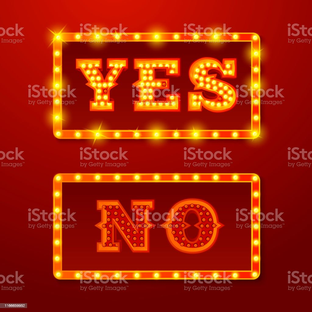 Vector realistic set of glowing Yes and No signs with lamps on red...