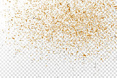 Vector realistic golden confetti on the transparent background. Concept of happy birthday, party and holidays.