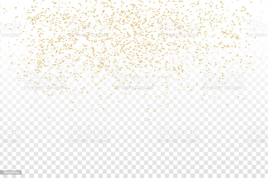 Vector Realistic Golden Confetti On The Transparent Background Concept Of Happy Birthday Party And