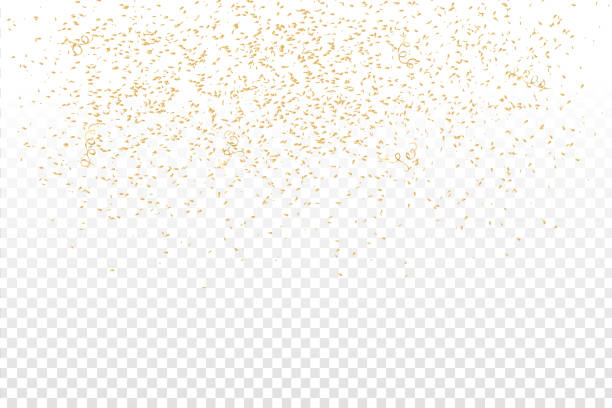 Vector realistic golden confetti on the transparent background. Concept of happy birthday, party and holidays. vector art illustration