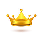 Vector realistic golden crown isolated on backdrop