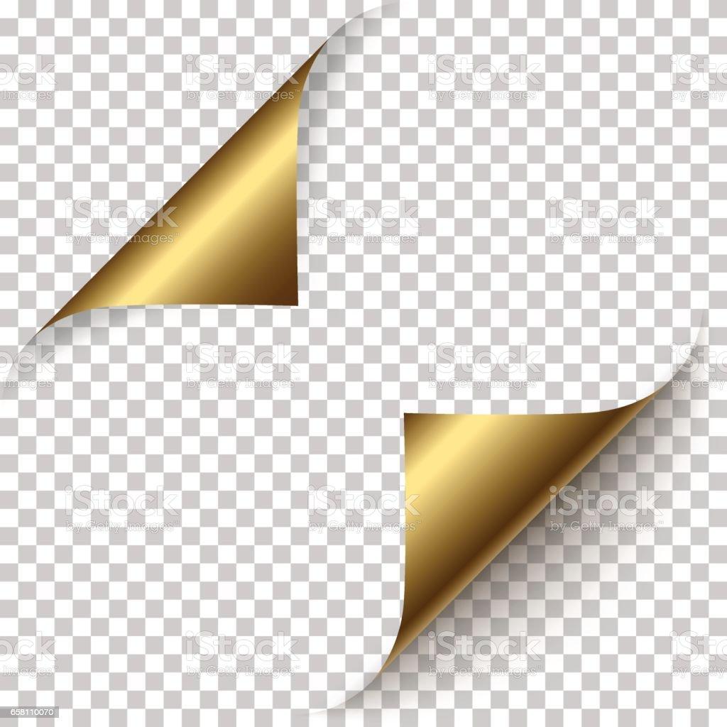 Vector realistic golden foil paper corners vector art illustration
