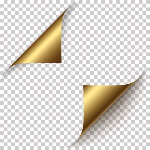 vector realistic golden foil paper corners - aluminum foil roll stock illustrations, clip art, cartoons, & icons