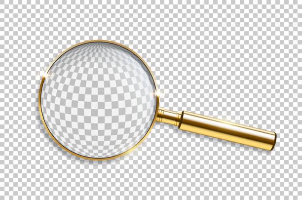 vector realistische goldene lupe isoliert auf transparentem hintergrund. - lupe stock-grafiken, -clipart, -cartoons und -symbole