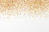 Vector realistic golden polka dot confetti on the transparent background. Concept of happy birthday, party and holidays.