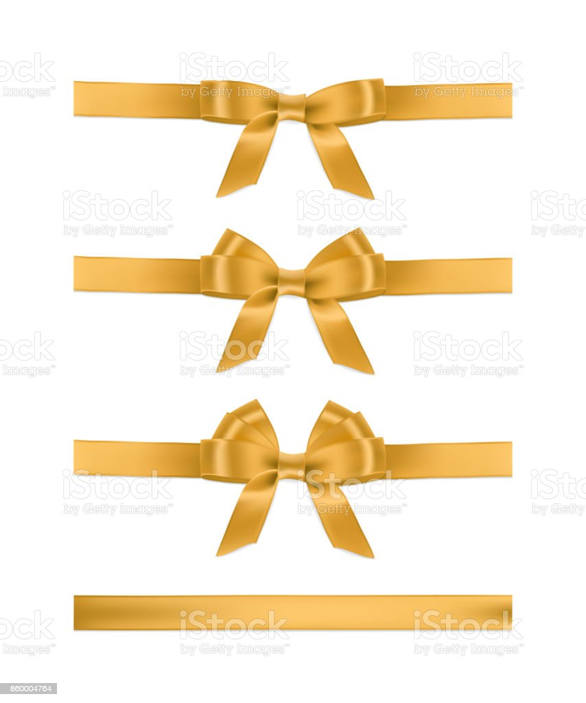 Vector realistic golden ribbons and bows. Set of holiday design elements. vector art illustration