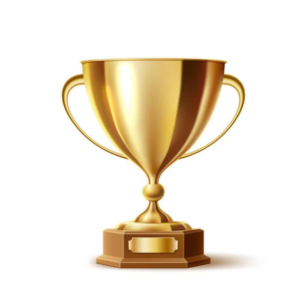 vektör gerçekçi altın kupa, altın kupa ödülü - kupa ödül stock illustrations