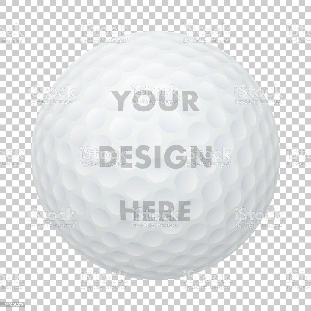 Ícone de bola de golfe realista vector. Closeup isolada no contexto de grade de transparência. Desporto bola modelo de design, maquete para gráficos, impressão etc... - ilustração de arte em vetor