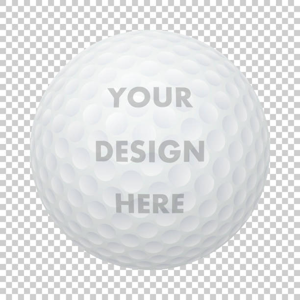 Vector realistic golf ball icon. Closeup isolated on transparency grid background. Sports ball design template, mockup for graphics, printing etc Vector realistic golf ball icon. Closeup isolated on transparency grid background. Sports ball design template, mockup for graphics, printing etc. golf ball stock illustrations