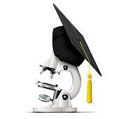 Vector realistic graduation cap on the microscope
