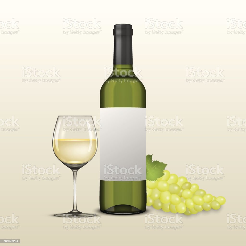 Vector Realistic Grapes Brunch Wine Glass And Bottle Of White Wine