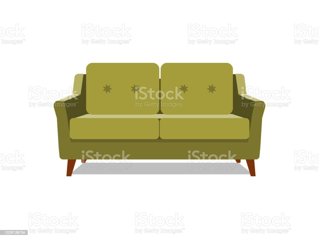 Vector Realistic Green Sofa With On Background. Object Of Interior,  Expensive And Exclusive Furniture