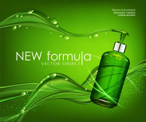 vektor, realistisch, grün, transparent flasche 3d mit seife pumpe auf grünem hintergrund bläschen (tropfen) und abstrakte wellen. kosmetischen fläschchen wunsch shampoo, gel. elemente, vorlage für kosmetische unternehmen, werbung, promotion - naturseife stock-grafiken, -clipart, -cartoons und -symbole