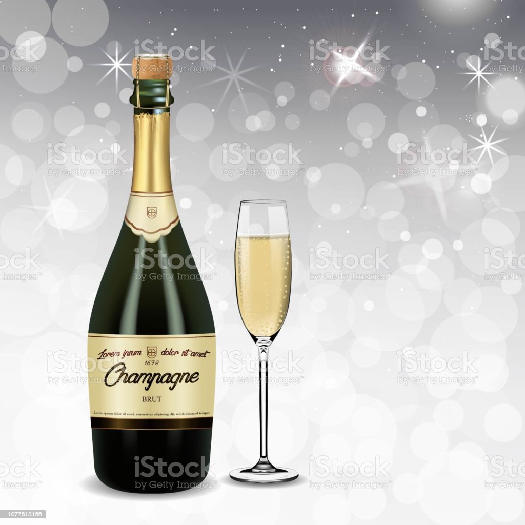 Vector Realistic green with gold label Champagne bottle and glasses...