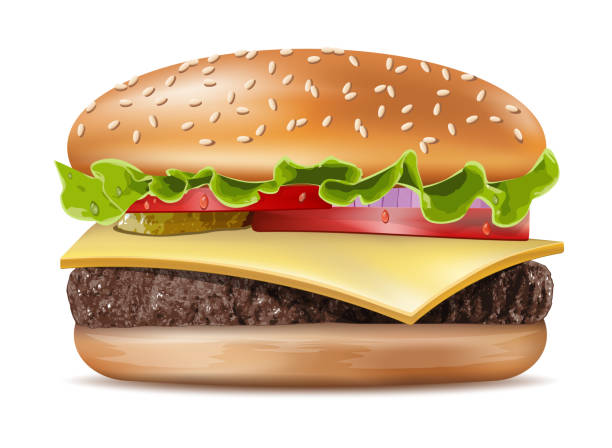 stockillustraties, clipart, cartoons en iconen met vector realistische hamburger klassieke burger amerikaanse cheeseburger met sla tomaat ui kaas rundvlees en saus close-up geïsoleerd op witte achtergrond. fastfood - hamburgers