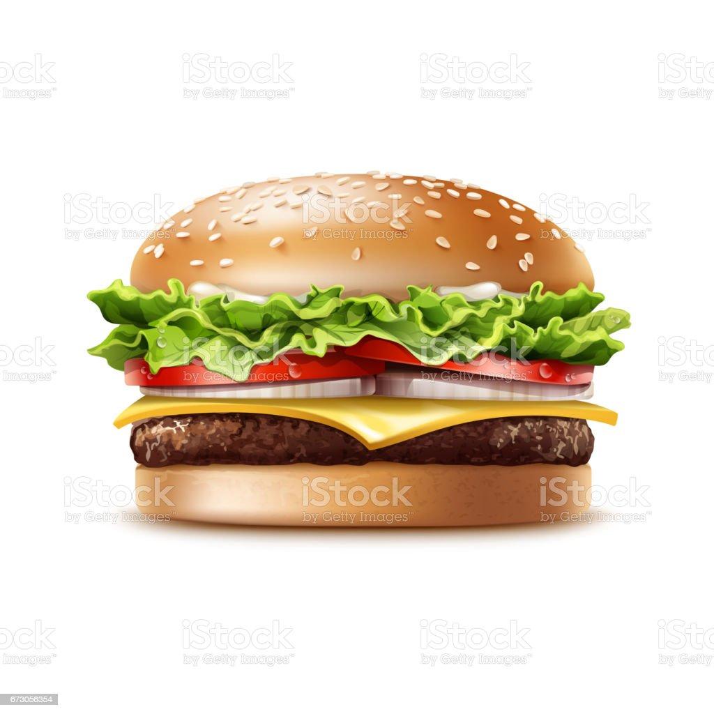 Vector Realistic Hamburger Fast Food vector art illustration