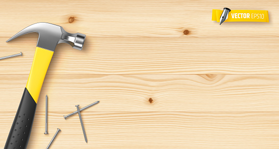 Vector realistic hammer and nails
