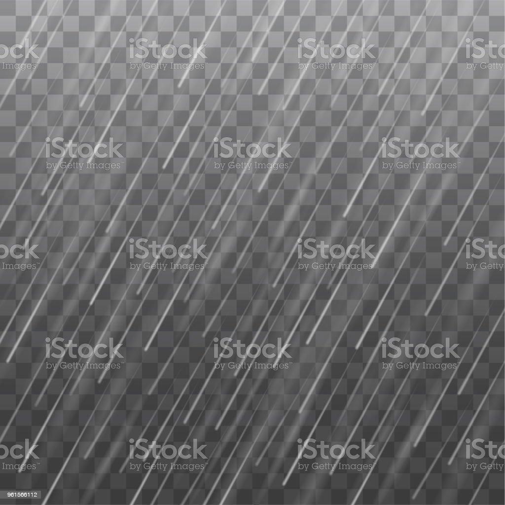 Vector realistic heavy rain texture isolated on transparent background vector art illustration