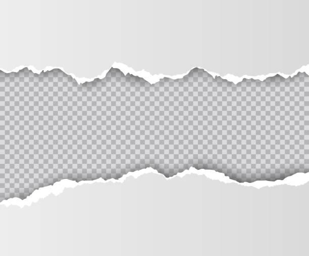 wektor realistyczny otwór rozdarty w papierze z cieniami izolowanymi na przezroczystym tle - efekty fotograficzne stock illustrations