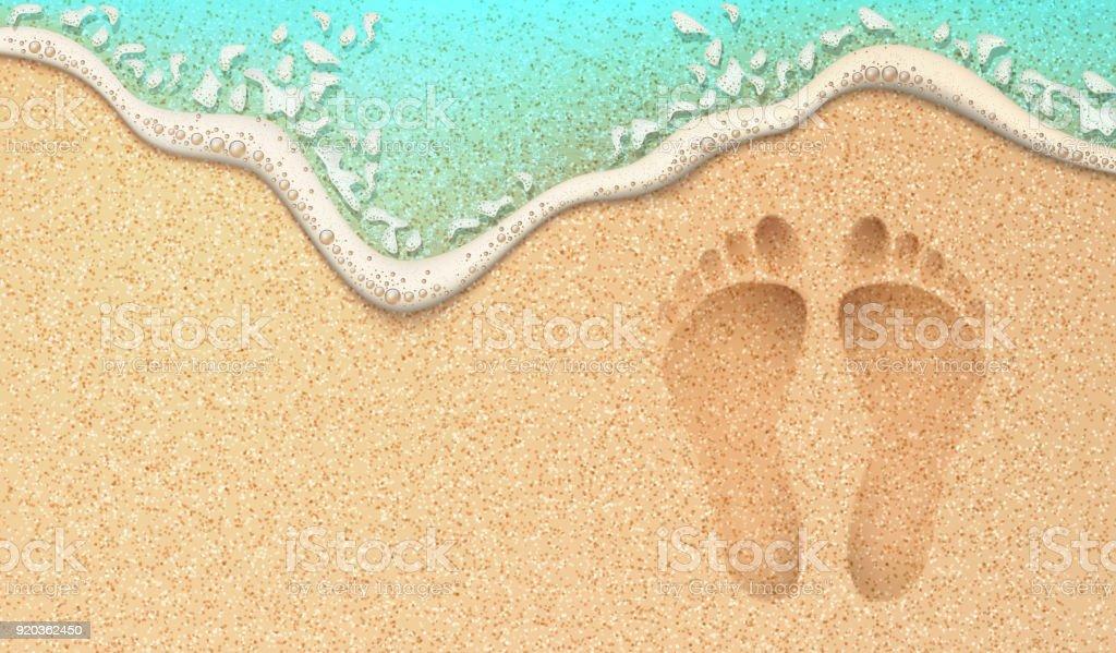 Vector realistic human footprint on sea beach sand royalty-free vector realistic human footprint on sea beach sand stock illustration - download image now