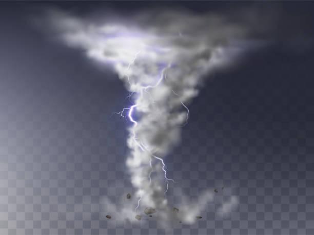 ilustraciones, imágenes clip art, dibujos animados e iconos de stock de huracán realista vector, tornado con rayo - hurricane