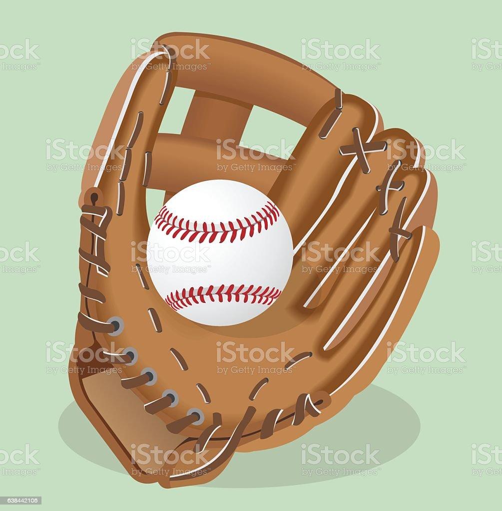 Vector realistic illustration. Baseball glove and ball. royalty-free vector realistic illustration baseball glove and ball stock illustration - download image now