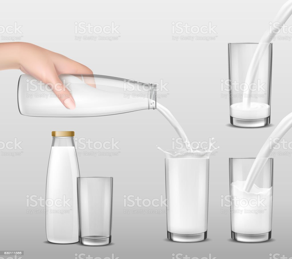 Vector realistic illustration, hand holding a glass bottle of milk and milk pouring into drinking glasses vector art illustration