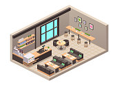 Vector realistic illustration of cafe or cafeteria. Isometric view of interior, tables, sofa, seats, counter, cash register, cakes desserts in showcase, bottled drinks on shelve, coffee machine, decor