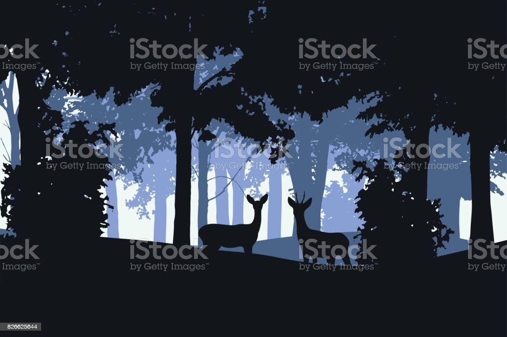 Illustration réaliste vectorielle d'une forêt à feuilles caduques doe et cerf - Illustration vectorielle