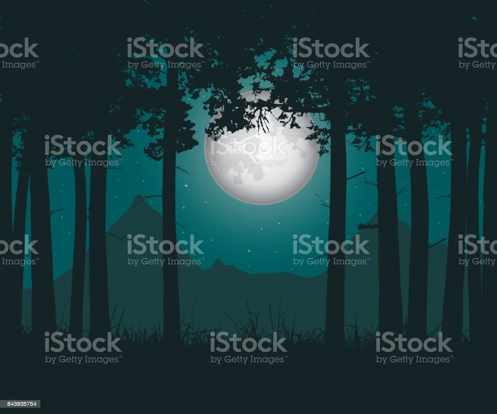 Vector realistic illustration of a haunting forest with grass under a green night sky with moon and stars vector art illustration