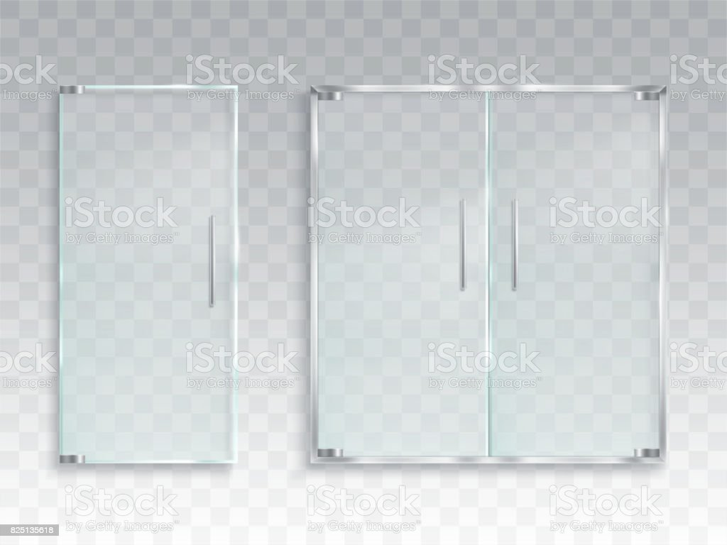 Vector realistic illustration of a layout of an entrance glass door with metal handles vector art illustration