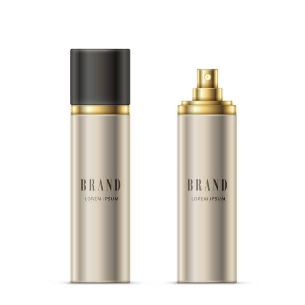 vektor-illustration realistisch eine sprühflasche mit silbrigen farbe mit einem goldenen sprüher und schwarze kappe - haarsprays stock-grafiken, -clipart, -cartoons und -symbole