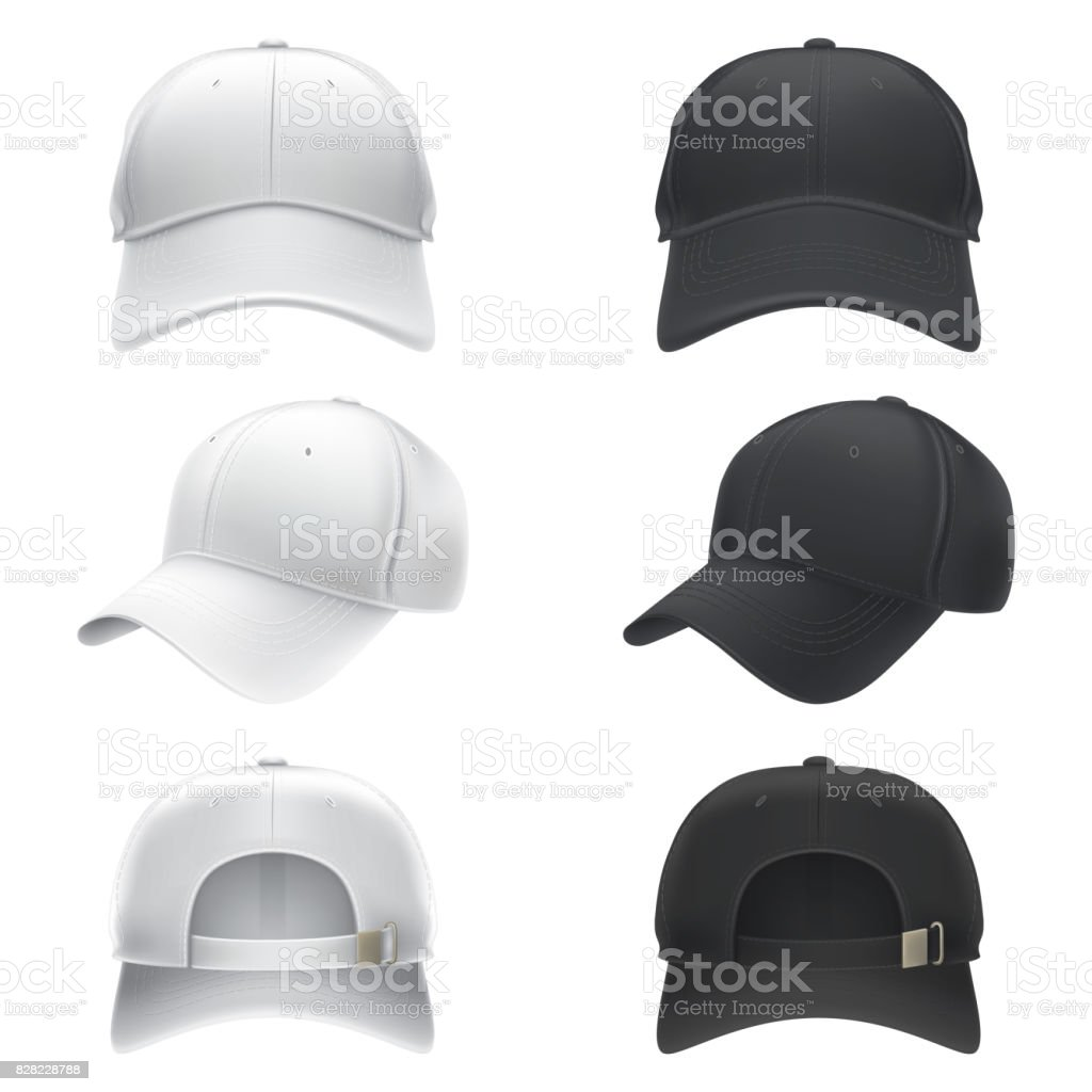 Vector realistic illustration of a white and black textile baseball cap front, back and side view векторная иллюстрация